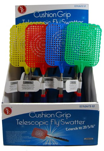 12-Pack-VAS-Who-Let-The-Bugs-Out-Cushioned-Grip-Extendable-Fly-Swatter-3-Each-Color-0-0