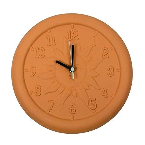 12-Terra-Cotta-Embossed-Sun-Indoor-or-Outdoor-Wall-Clock-0