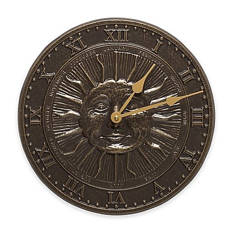 12-diameter-x-1-D-Whitehall-Products-Sun-Face-IndoorOutdoor-Clock-in-French-Bronze-0
