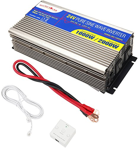 24V-MicroSolar-1000W-Peak-2000W-Pure-Sine-Wave-Inverter-with-Remote-Wire-Controller-with-2-Foot-Battery-Cable-0