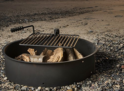 32-Steel-Fire-Ring-with-Cooking-Grate-Campfire-Pit-Park-Grill-BBQ-Camping-Trail-0-0