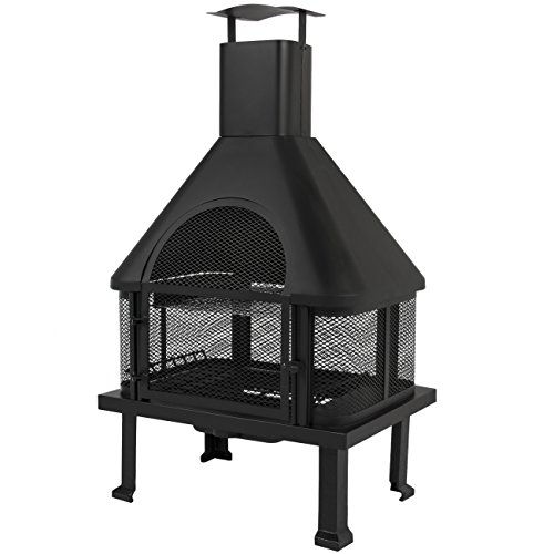 Best-Choice-Products-Firehouse-Fire-Pit-With-Chimney-Outdoor-Backyard-Deck-Fireplace-0-1