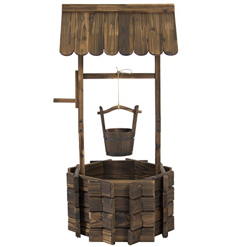 Best-Choice-Products-Wooden-Wishing-Well-Bucket-Flower-Planter-Patio-Garden-Outdoor-Home-Dcor-0-0