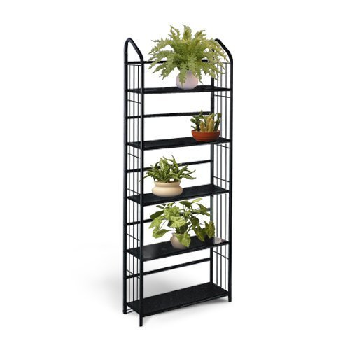 Black-Metal-Outdoor-Patio-Plant-Stand-5-Tier-Shelf-Unit-5-TIER-SHELVES-0