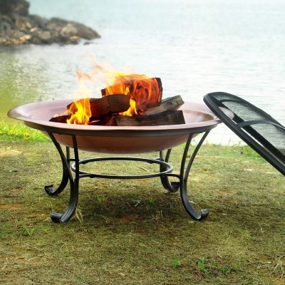 Catalina-30-Inch-Durable-Copper-Fire-Pit-Set-Including-Spark-Screen-Screen-Lifting-Tool-Log-Grate-and-Storage-Cover-0-0