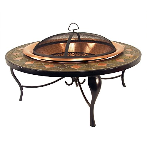 Catalina-Creations-40-Round-Heavy-Duty-Mosaic-Patio-Fire-Pit-with-Copper-Accents-Spark-Screen-and-Accessories-0