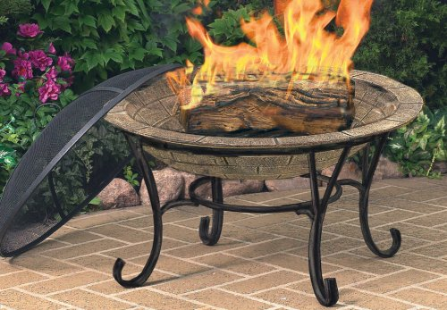 CobraCo-FB6102-Round-Cast-Iron-Brick-Finish-Fire-Pit-with-Screen-and-Cover-0-0