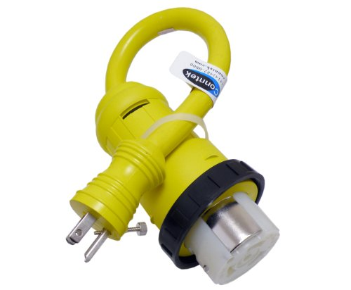 Conntek-14422-RV-Pigtail-Adapter-15-Amp-Male-Plug-With-Screw-To-50-Amp-125250-Volt-Locking-Female-Connector-0