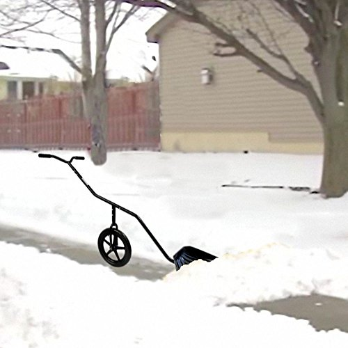 EasyGo-Snow-Lever-Adjustable-Height-Single-Wheeled-Snow-Thrower-Shovel-24-Wide-15-Deep-Concave-Shovel-Head-with-Easy-Rolling-16-Wheel-0-0