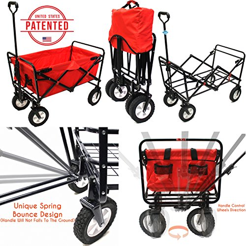 Everyday-Sports-Next-Generation-Utility-Folding-Wagon-with-Removable-Polyester-Bag-Spring-Bounce-Feature-Auto-Safety-Locks-Handle-Steering-Performance-Scarlet-Red-0