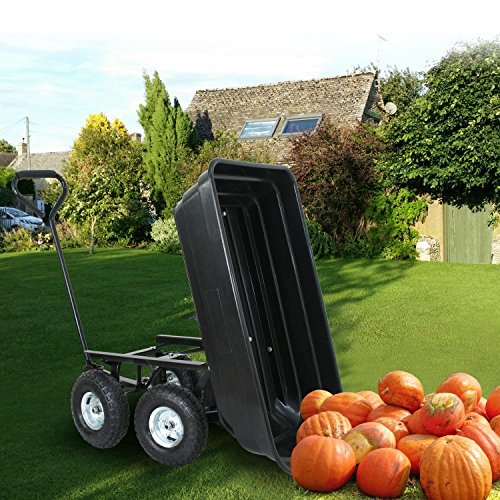 F2C-Poly-Garden-Dump-Cart-Heavy-Duty-Dumper-75L-650lb-Capacity-with-Steel-Frame-Pneumatic-Air-Tires-0-0