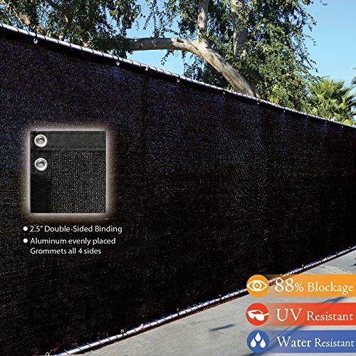 Fence4ever-8-x-50-3rd-Gen-Black-Fence-Privacy-Screen-Windscreen-Shade-Fabric-Mesh-Tarp-Aluminum-Grommets-0