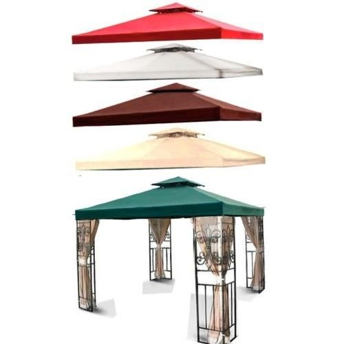 Flexzion-10×10-Gazebo-Top-Canopy-Replacement-Cover-Dual-Tier-with-Plain-Edge-Polyester-UV30-Protection-Waterproof-for-Outdoor-Garden-Patio-Lawn-Sun-Shade-0