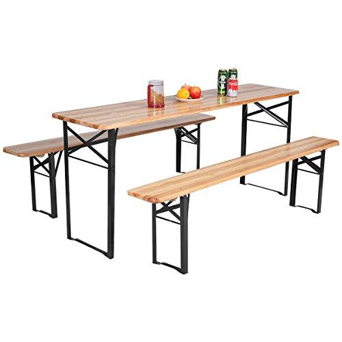 Giantex-3-PCS-Beer-Table-Bench-Set-Folding-Wooden-Top-Picnic-Table-Patio-Garden-0-0