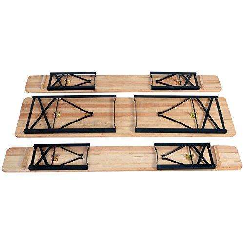 Giantex-3-PCS-Beer-Table-Bench-Set-Folding-Wooden-Top-Picnic-Table-Patio-Garden-0-1