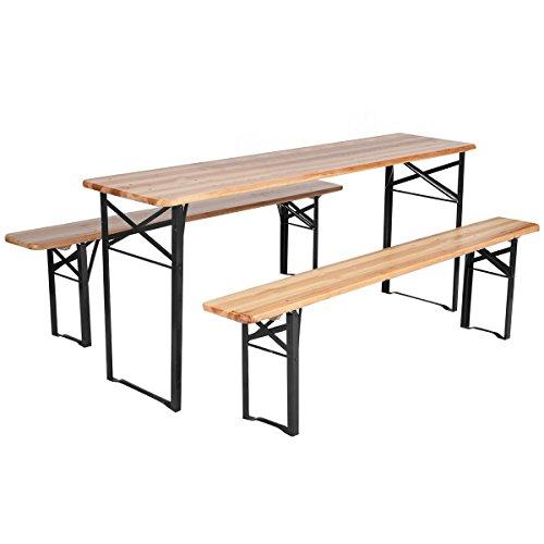 Giantex-3-PCS-Beer-Table-Bench-Set-Folding-Wooden-Top-Picnic-Table-Patio-Garden-0