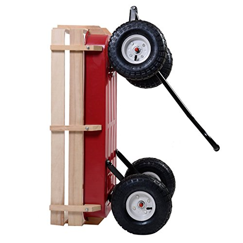Giantex-All-Terrain-Cargo-Wagon-Wood-Railing-Kids-Children-Garden-Air-Tires-Outdoor-Red-0-0