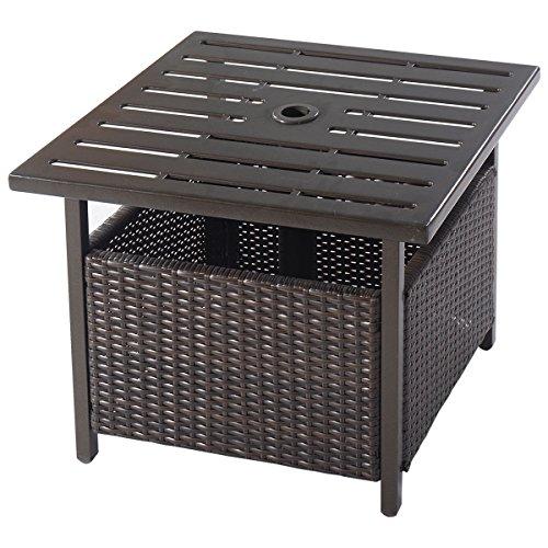 Giantex-Brown-Rattan-Wicker-Steel-Side-Table-Outdoor-Furniture-Deck-Garden-Patio-Pool-0