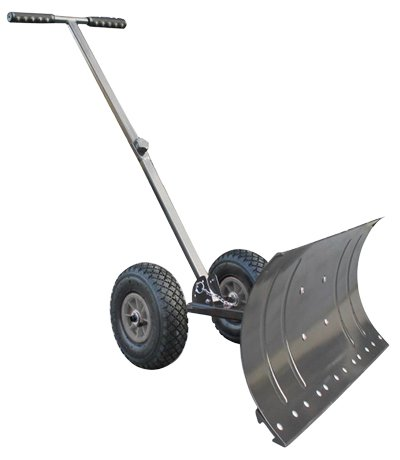 Heavy-Duty-Rolling-Snow-Shovel-with-Rotatable-Steel-Blade-5-Way-Adjustable-Handle-and-Extra-Large-Rubber-Wheels-for-Easy-Rolling-Color-Grey-0