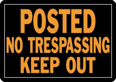 Hy-Ko-Sign-Orange-Letters-On-Black-Background-10-X-14-Posted-No-Trespassing-Keep-Out-Aluminum-0