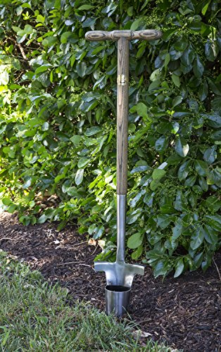 Joseph-Bentley-Traditional-Garden-Tools-Stainless-Steel-Long-Handled-Bulb-Planter-Engraved-4-Inch-Scale-for-Depth-Measurements-For-Soft-and-Hard-Soil-Solid-Oak-Handle-Long-Lasting-Durability-0-0