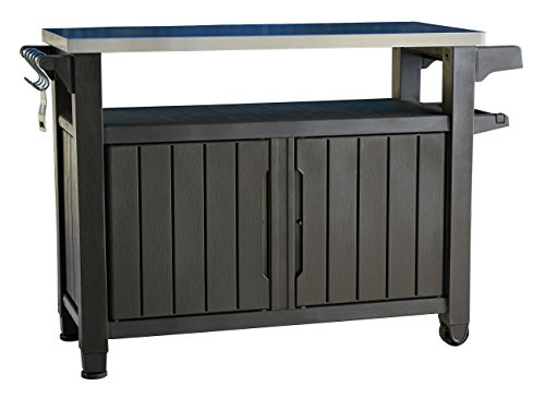 Keter-Unity-XL-Indoor-Outdoor-Entertainment-BBQ-Storage-Table-Prep-Station-Serving-Cart-with-Metal-Top-0