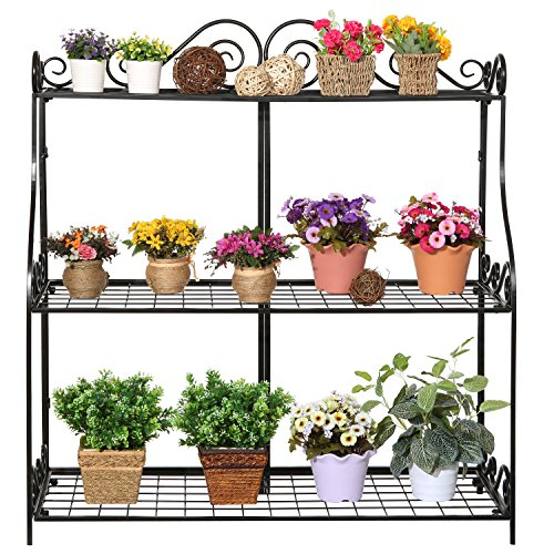 Large-Freestanding-Black-Metal-Scrollwork-3-Tier-Plant-Stand-Bathroom-Kitchen-Storage-Organizer-Shelf-Rack-0-0