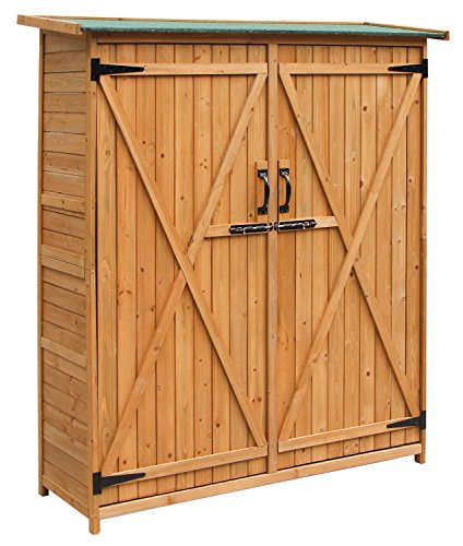 Merax-Wooden-Outdoor-Garden-Shed-with-Fir-Wood-Medium-Storage-Shed-Lockable-Storage-Unit-with-Double-Doors-Natural-Color-0