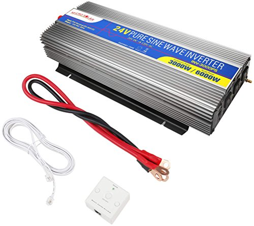 MicroSolar-24V-3000W-Peak-6000WPure-Sine-Wave-Inverter-with-Remote-Wire-Controller-and-2-Foot-Battery-Cable-0