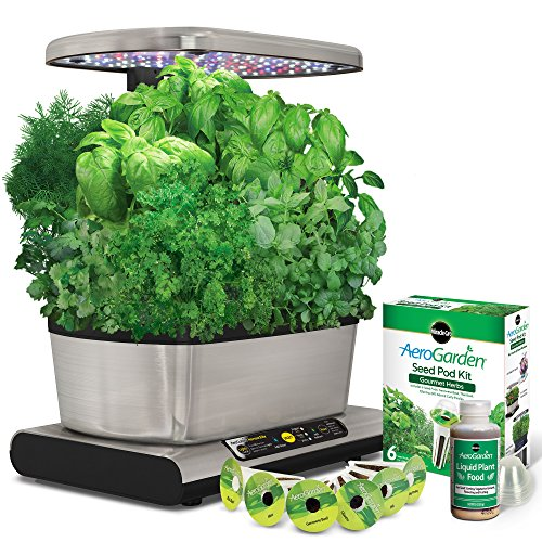 Miracle-Gro-AeroGarden-Harvest-Elite-with-Gourmet-Herb-Seed-Pod-Kit-Stainless-Steel-0