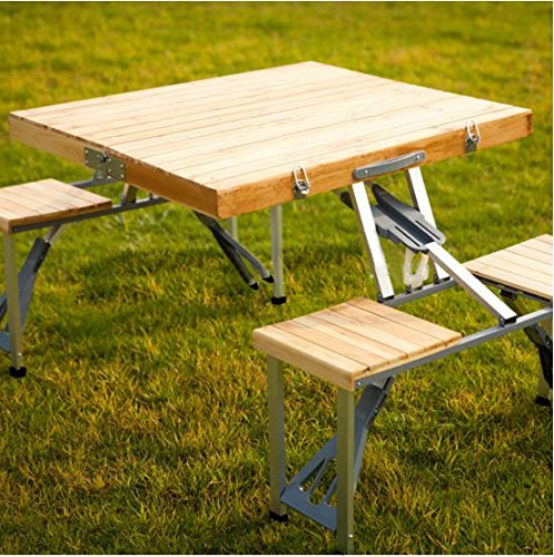 Plixio-Portable-Folding-Wood-Picnic-Table-with-4-Bench-Seats-0-0