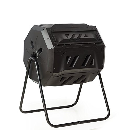 Rotary-Garden-Tumbler-Composter-Easy-to-turn-Barrel-Space-Efficient-Black-Color-160L-37-gallon-Capacity-With-2-Compartments-by-ZeLi-0