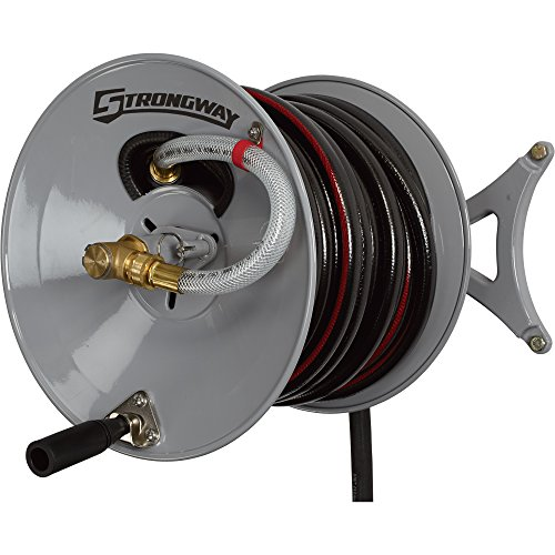 Strongway-Parallel-or-Perpendicular-Wall-Mount-Garden-Hose-Reel-Holds-150ft-x-58in-Hose-0