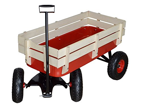 TMS-Outdoor-Wagon-All-Terrain-Pulling-w-Wood-Railing-Air-Tires-Children-Kid-Garden-0-1