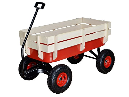 TMS-Outdoor-Wagon-All-Terrain-Pulling-w-Wood-Railing-Air-Tires-Children-Kid-Garden-0
