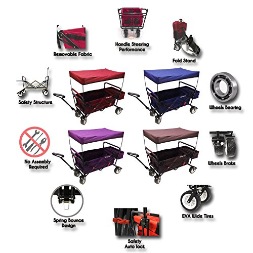 The-Best-Feature-Quality-NEW-4th-GENERATION-Collapsible-Folding-Wagon-with-Canopy-and-Kids-Seat-Belt-Padded-Bottom-Auto-Safety-Locks-Spring-Bounce-Brake-Stand-EVA-Wide-Tire-0