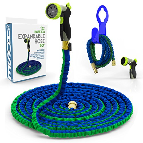 The-Hose-Cos-EXPANDABLE-HOSE-Powerful-Portable-Proven-to-Last-Deluxe-Expanding-Garden-Hose-Kit-Green-and-Blue-Double-Latex-KinkProof-Hose-Copper-Fittings-8-Function-Nozzle-Bonus-Wall-Hook-0