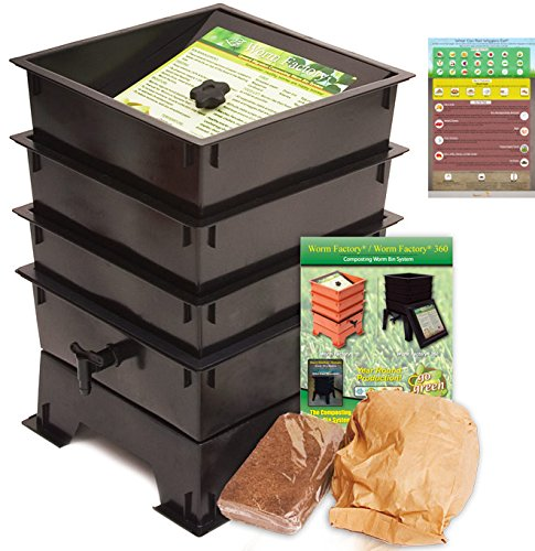 Worm-Factory-3-Tray-Worm-Composting-Bin-Bonus-What-Can-Red-Wigglers-Eat-Infographic-Refrigerator-Magnet-Vermicomposting-Container-System-Live-Worm-Farm-Starter-Kit-for-Kids-Adults-0