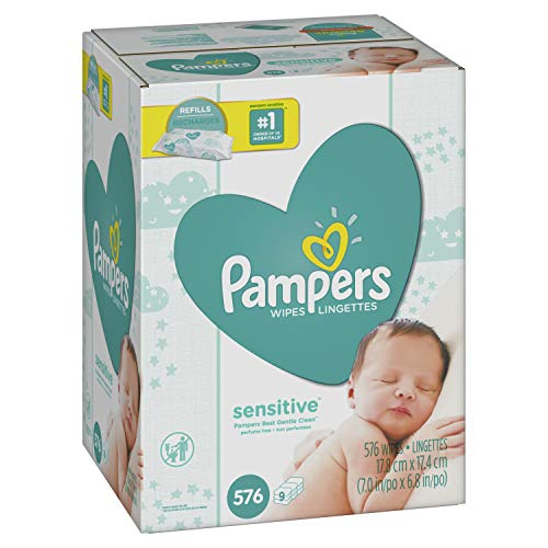 Pampers-Sensitive-Water-Based-Baby-Diaper-Wipes-9-Refill-Packs-for-Dispenser-Tub-Hypoallergenic-and-Unscented-576-Count-0