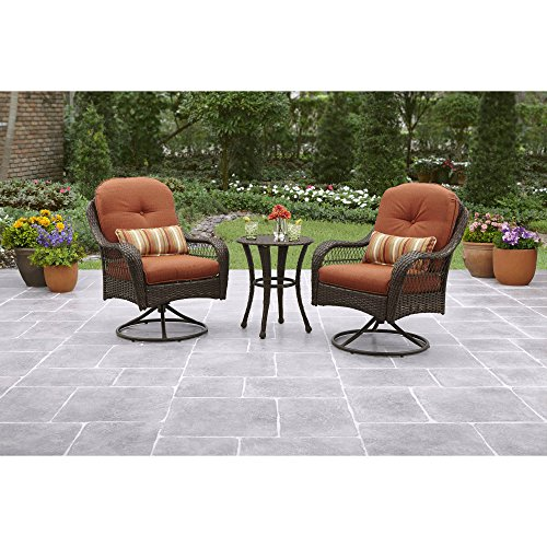 3-Piece-Outdoor-Bistro-Set-All-Weather-Wicker-Hand-Woven-Weave-Color-is-ReddishBrown-Heavy-Duty-Steel-Frame-Tempered-Glass-Includes-Seat-Back-and-Lumbar-Pillow-Treated-for-UV-Protection-0