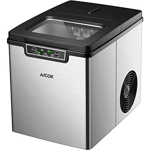 AICOK-Ice-Maker-Quiet-Ice-Maker-Machine-Stainless-Steel-Ice-Cube-Maker-26-Pounds-of-Ice-in-24-Hours-9-Ice-Cubes-Within-6-14-Minutes-2-Quart-Water-Tank-Ice-Scoop-Silver-0