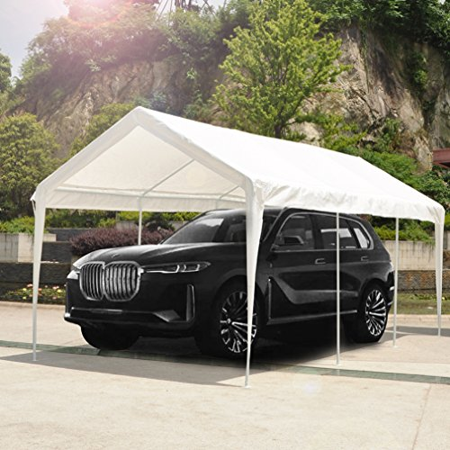 Abdone-Carport-10-x-20-Feet-Outdoor-Heavy-Duty-Car-Canopy-Shelter-8-Steel-Legs-Water-Resistant-White-0-0
