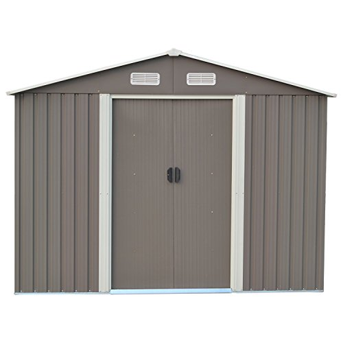 Ainfox-Steel-Toolsheds-Storage-Window-Utility-for-Outdoor-Garden-Backyard-Lawn-Warm-Grey-0-1