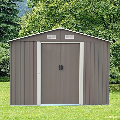 Ainfox-Steel-Toolsheds-Storage-Window-Utility-for-Outdoor-Garden-Backyard-Lawn-Warm-Grey-0
