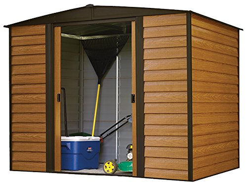 Arrow-Woodridge-Low-Gable-Steel-Storage-Shed-CoffeeWoodgrain-0-0