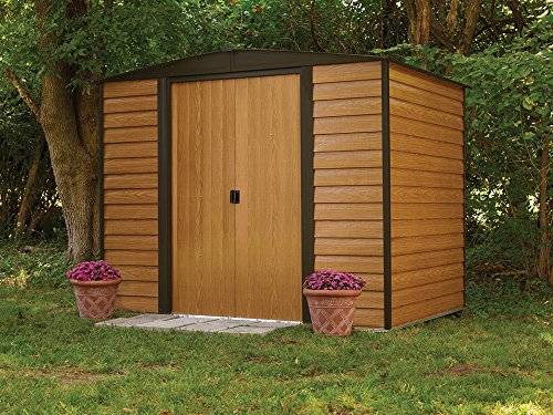 Arrow-Woodridge-Low-Gable-Steel-Storage-Shed-CoffeeWoodgrain-0-1