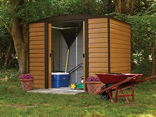 Arrow-Woodridge-Low-Gable-Steel-Storage-Shed-CoffeeWoodgrain-0-2