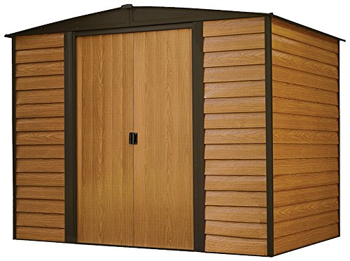 Arrow-Woodridge-Low-Gable-Steel-Storage-Shed-CoffeeWoodgrain-0