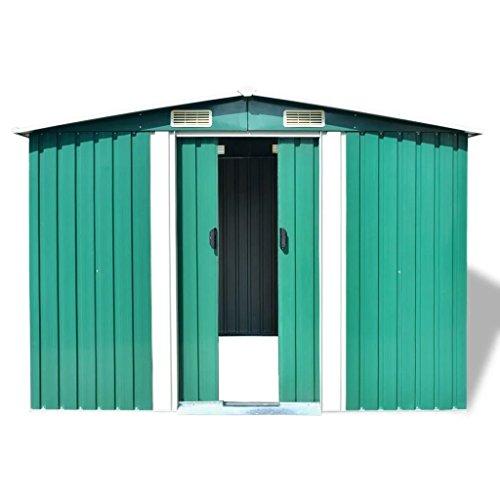 BLXCOMUS-Outdoor-Green-Garden-Storage-Shed-Metal-Garage-Storage-Organizer-Large-House-With-4-VentsDouble-Silding-DoorsSize1012x807x701-0-2