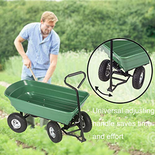BestMassage-Garden-Cart-Utility-Yard-Dump-Cart-Wagon-Carrier-Wheelbarrow-4-Air-Tires-with-Poly-Pulling-Wagon-10-Pneumatic-TiresHeavy-Duty-Steel-Frame-0-1